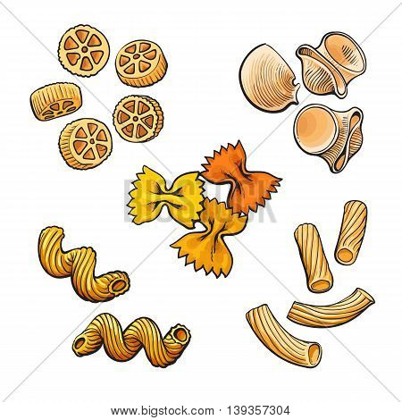 Big collection of italian pasta sketch style vector illustration isolated on white background. Set of shells bow spiral penne fusilli tagliatelle pasta. Different types of italian noodles
