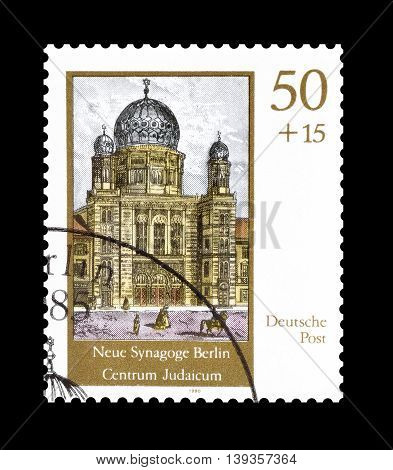 GERMANY - CIRCA 1990 : Cancelled postage stamp printed by Germany, that shows Synagogue in Berlin.