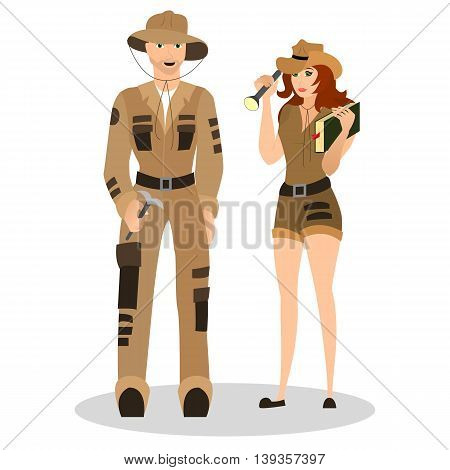 Occupation archeologist for men and women. Suit for the archaeologist. Vector illustration.