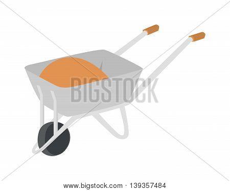 Garden metal wheelbarrow cart isolated on white.