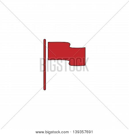 Flag. Location marker. Red flat simple modern illustration icon with stroke. Collection concept vector pictogram for infographic project and logo
