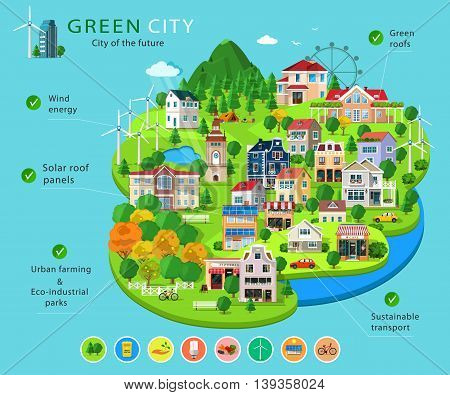 Set of city buildings and houses, eco parks, lakes,  farms, wind turbines and solar panels, ecology infographic elements. Essential elements of green city. Flat concept of ways to protect environment
