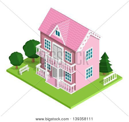 3d realistic detailed isometric pink house icon with trees, bench and fence. Vector illustration isolated on white.