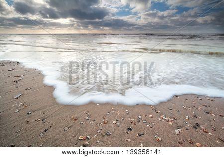 North sea coast and beautiful sky North Holland Netherlands