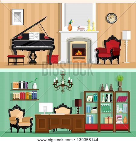 Set of colorful vector interior design house rooms with furniture icons: living room and home office. Rooms with vintage interior elements. Flat style vector illustration.