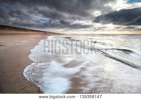 North sea coast at storm Zandvoort Netherlands