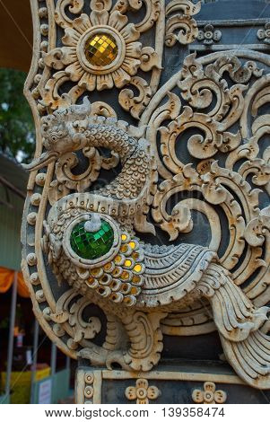 Thailand Temple. A Fragment Of Decoration. Chiangmai.