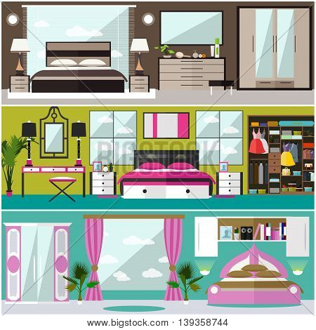 Bedroom interior banners set in flat style. Vector illustration. House room design elements and icons.