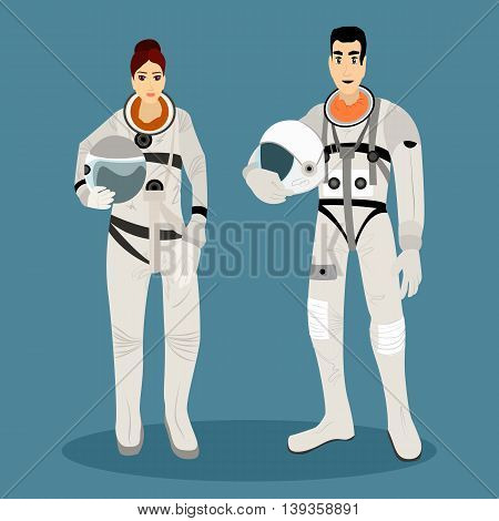 The astronauts in space suits with helmets in hands. Cosmonaut profession. Vector illustration.