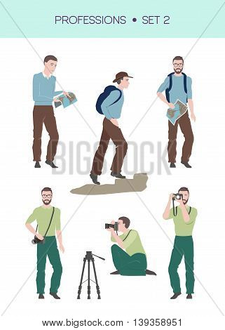 Vector set of travelling related professions, travelling concept, traveller and photographer in different poses