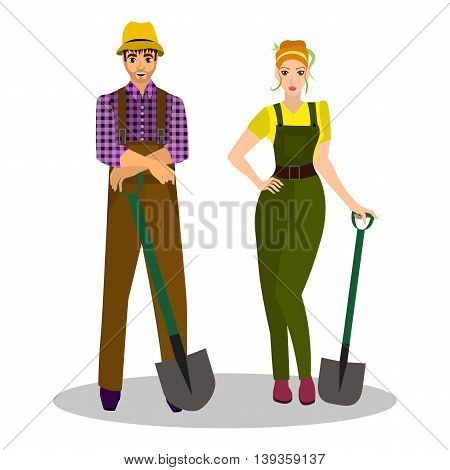 Farmers with a shovel in their hands and working clothes. Occupation farmer. Vector illustration.