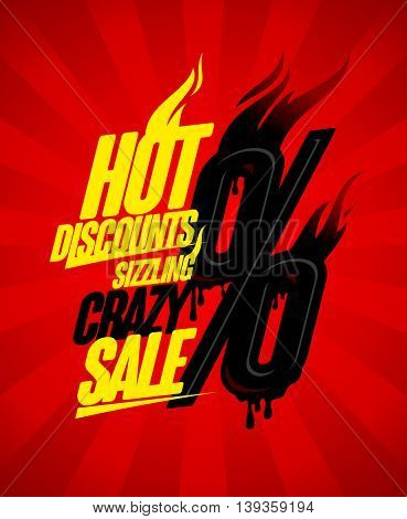 Hot discounts sizzling crazy sale design concept, burning percents against deep red rays backdrop