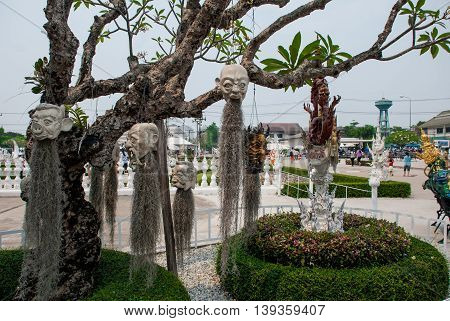 The Tree On Which You Hang A Person Is Head. Wat Rong Khun, White Temple. Chiang Rai, Thailand.