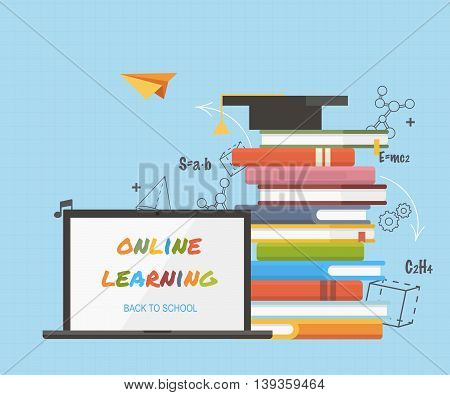 Concepts of education and online learning. Online training courses, distance training, e-learning. Flat design colorful vector illustration.
