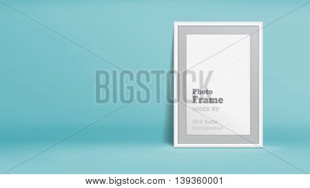 Vector, Blank Photo Frame In Pastel Turquoise Studio Room, Template Mock Up For Display Or Montage O