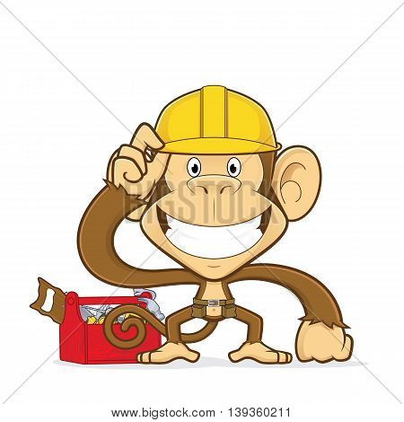 Clipart picture of a monkey builder cartoon character
