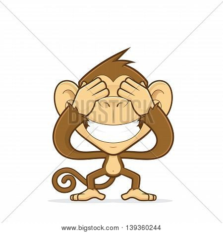 Clipart picture of a monkey cartoon character closing his eyes