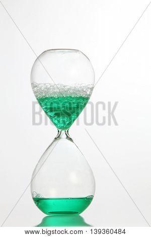 water type of hourglass on the white background