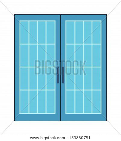 Color door isolated on white. Colorful front door to house and building in flat design style isolated.