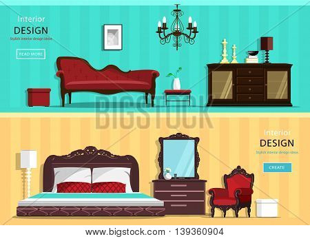 Set of vintage interior design house rooms with furniture icons: living room and bedroom. Flat style vector illustration.