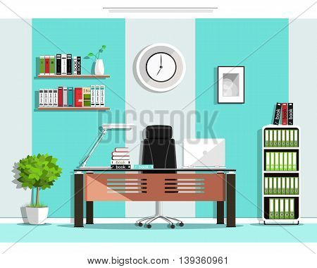 Cool graphic office room interior design with furniture: chair, table, bookcase, shelves, lamp. Flat style vector illustration
