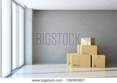 moving boxes at a new office, 3d rendering