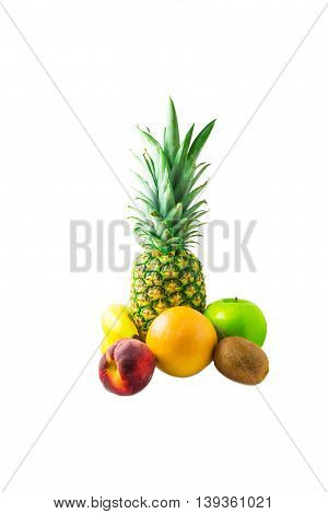 pineapple banana peach grapefruit kiwi and apple isolated on white background food eating fruits sweet summer healthy