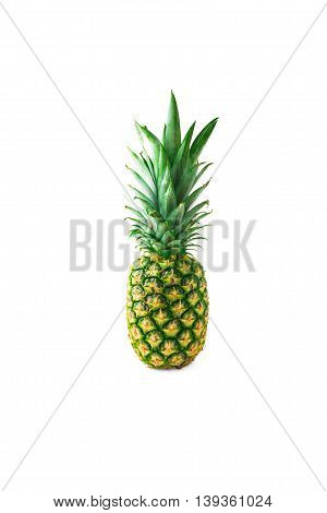 pineapple isolted on white background sweet fruit eating tropical healthy whole