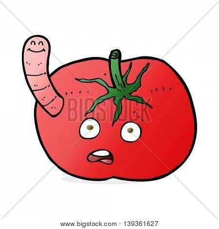 cartoon tomato with worm