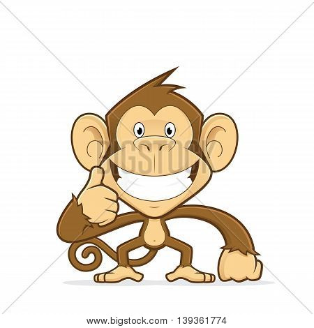Clipart picture of a monkey cartoon character giving thumbs up