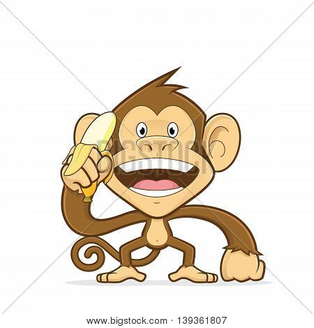 Clipart picture of a monkey cartoon character holding a banana