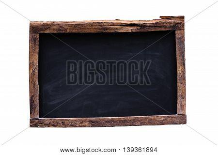 Vintage rectangular chalkboard on white background for design