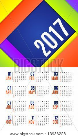 Vector Of Calendar 2017 Year ,12 Month Calendar With Vivid Material Design Style,week Start At Sunda