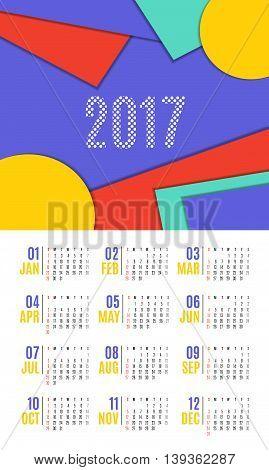 Vector Of Calendar 2017 Year ,12 Month Calendar With Vivid Material Design Style,week Start At Sunda