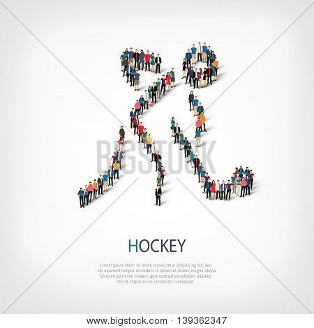 Isometric set of styles, people, sports, hockey , web infographics concept  illustration of a crowded square, flat 3d. Crowd point group forming a predetermined shape. Creative people.
