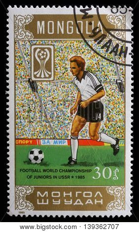 ZAGREB, CROATIA - SEPTEMBER 08: A stamp printed in Mongolia showing Football World Championship of juniors in USSR circa 1985, on September 08, 2012, Zagreb, Croatia