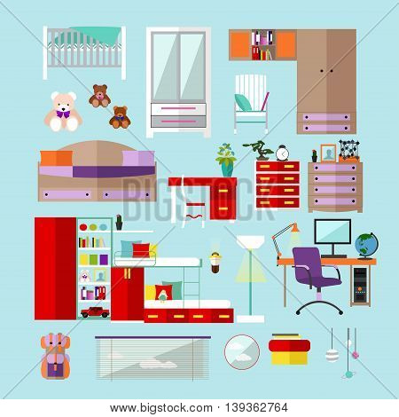 Kids bedroom interior objects in flat style. Vector illustration. House room design elements and icons.