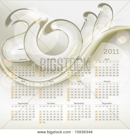 2011 calendar, eps10