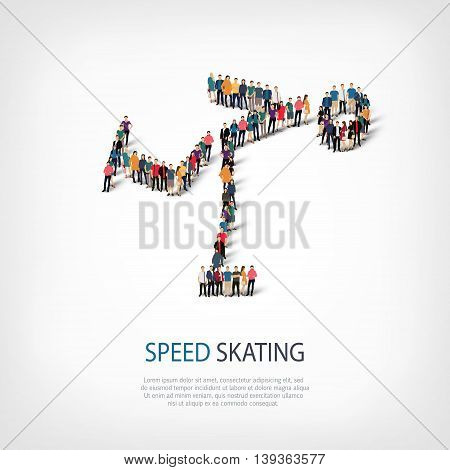 Isometric set of styles, people, sports, speed skating , web infographics concept  illustration of a crowded square, flat 3d. Crowd point group forming a predetermined shape. Creative people.