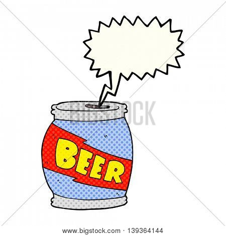 freehand drawn comic book speech bubble cartoon beer can