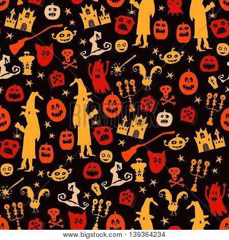 Halloween seamless silhouette bright kids doodle pattern.