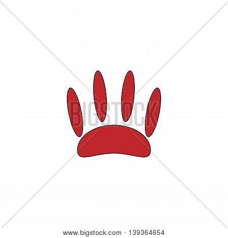 Animal footprint. Red flat simple modern illustration icon with stroke. Collection concept vector pictogram for infographic project and logo
