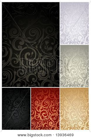 Seamless Wallpaper Pattern, set of six colors