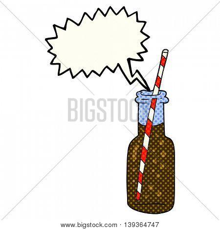 freehand drawn comic book speech bubble cartoon fizzy drink bottle