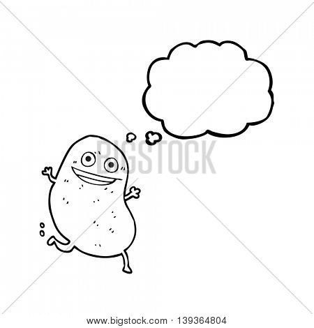 freehand drawn thought bubble cartoon potato running