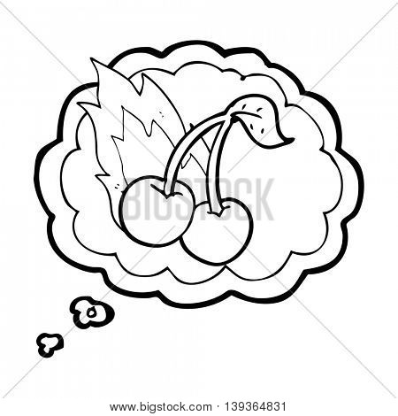 freehand drawn thought bubble cartoon flaming cherries