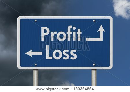 Difference between Profit and Loss Blue Road Sign with text Profit and Loss with bright and stormy sky background, 3D Illustration
