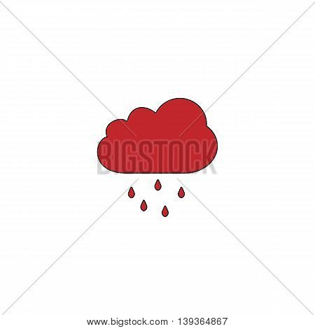 Cloud with rain. Red flat simple modern illustration icon with stroke. Collection concept vector pictogram for infographic project and logo