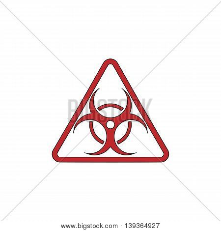 Biohazard. Red flat simple modern illustration icon with stroke. Collection concept vector pictogram for infographic project and logo