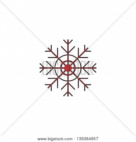 Snowflake. Red flat simple modern illustration icon with stroke. Collection concept vector pictogram for infographic project and logo